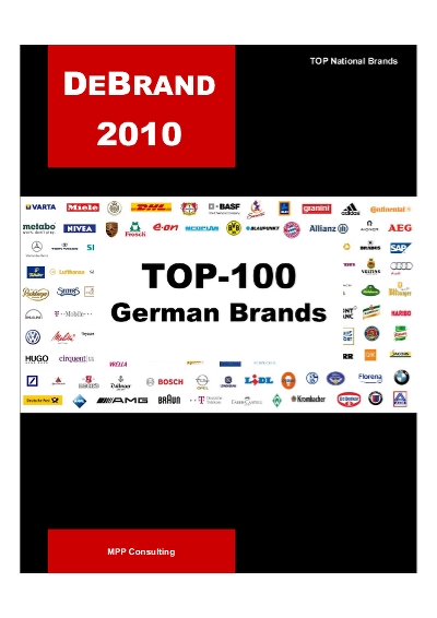 Debrand Top 100 German Brands 2010 Mpp Consulting Ranking The Brands