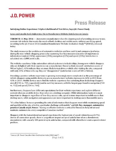 Canadian Manufacturer Website Evaluation Study - 2016 (J D  Power